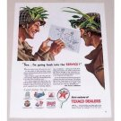 1945 Texaco Dealers Color Wartime Art Vintage Color Print Ad - Back Into Service
