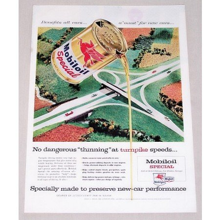 1956 Mobil Oil Special Motor Oil Vintage Color Print Art Ad - Thinning Turnpike Speeds