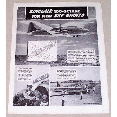 1945 Sinclair Refining Co. Douglas Super Airliner Vintage Print Ad