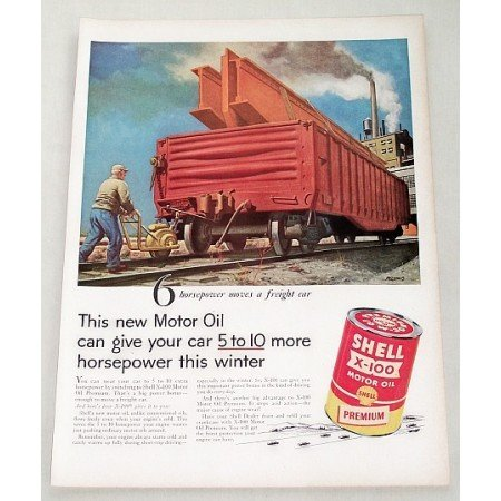 1956 Shell X-100 Motor Oil Freight Car Vintage Color Print Art Ad