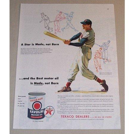 1954 Texaco Havoline Oil Vintage Color Print Ad Baseball Celebrity Ted Williams