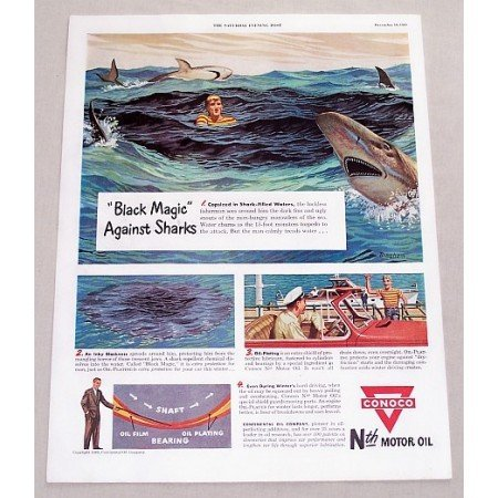 1949 Conoco Motor Oil Shark Filled Water Vintage Color Print Art Ad
