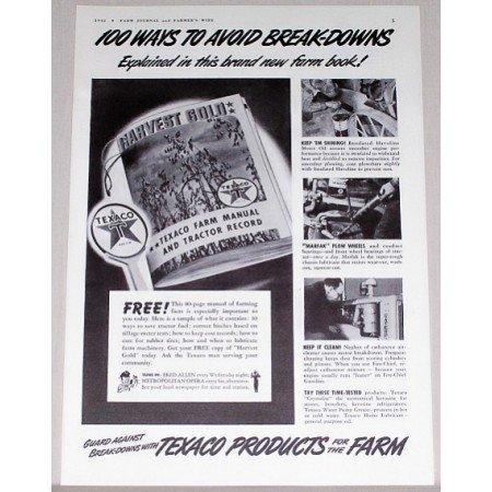 1942 Texaco Products Vintage Print Ad - 100 Ways To Avoid Breakdowns