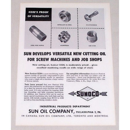 1955 Sunoco Sun Oil Co. Sunicut 5534 Cutting Oil Vintage Print Ad