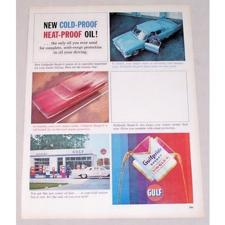 1961 Gulf Oil Select Single G Oil Can Vintage Color Print Ad