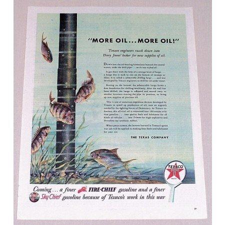 1944 Texaco Gas Oil Underwater Pipe Fish Vintage Color Print Art Ad