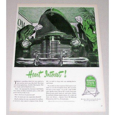 1946 Quaker State Motor Oil Vintage Color Print Art Ad - Heart Interest!