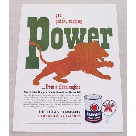 1949 Texaco Havoline Motor Oil Vintage Color Print Ad - Quick Power