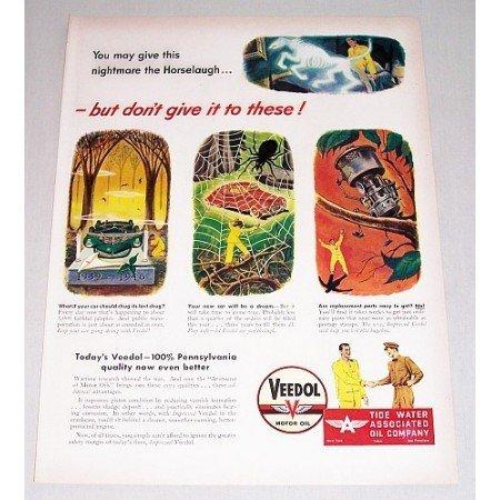 1946 Veedol Motor Oil Vintage Color Print Art Ad - Nightmare Horselaugh