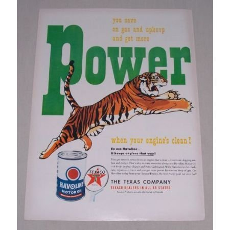 1949 Texaco Havoline Motor Oil Tiger Art Vintage Color Print Ad