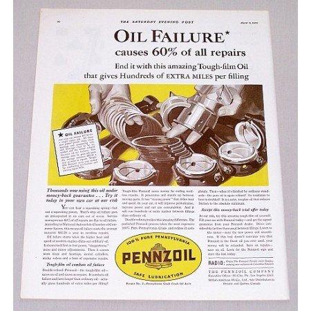 1932 Pennzoil Motor Oil Vintage Color Print Art Ad - Oil Failure Causes..