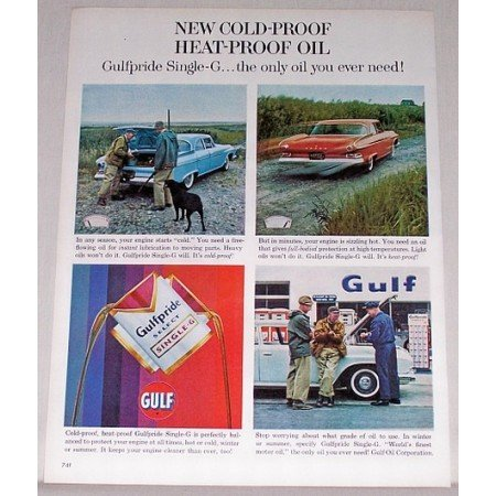 1961 Gulf Pride Select Single G Motor Oil Dodge Cars Vintage Color Print Ad