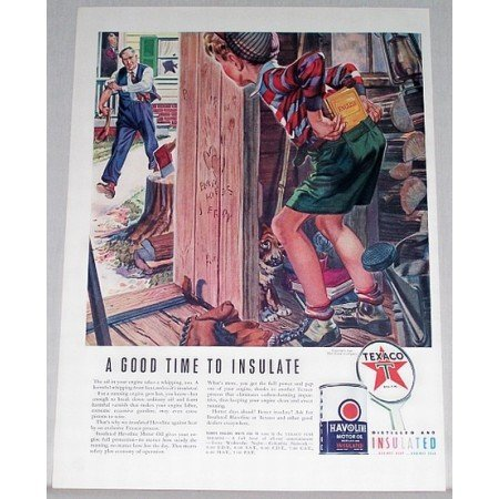 1940 Texaco Havoline Motor Oil Boy Woodshed Art Vintage Color Print Ad