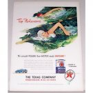 1948 Texaco Havoline Motor Oil Women Swimming Art Vintage Color Print Ad