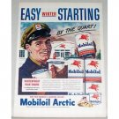 1948 Mobil Oil Artic Oil Cans Station Vintage Color Print Art Ad