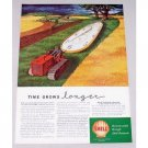 1947 Shell Oil Company Track Tractor Farm Art Vintage Color Print Ad