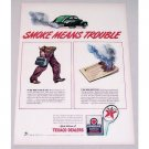 1943 Texaco Dealers Gas Vintage Color Print Ad - Smoke Means Trouble
