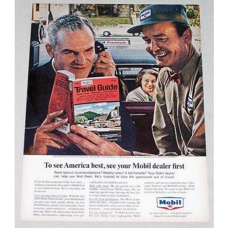 1965 Mobil Dealer Mobil Travel Guide Vintage Color Print Ad