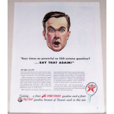 1944 Texaco Fire Chief Sky Chief Vintage Color Print Ad - Say That Again!