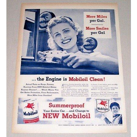 1946 Mobil Oil Pump Vintage Color Print Ad - Engine Is Mobil Clean