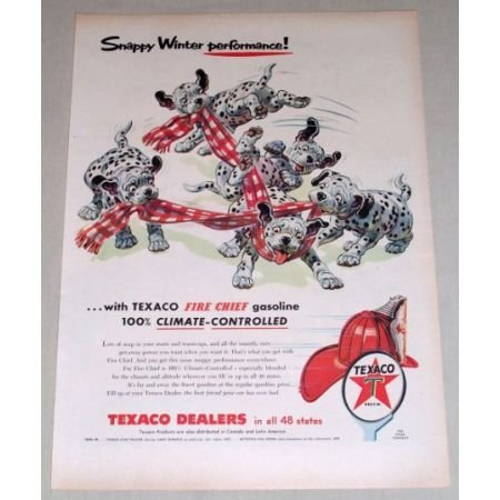 1956 TEXACO Fire Chief Gasoline Dalmatians Animal Art Vintage Color Print Ad