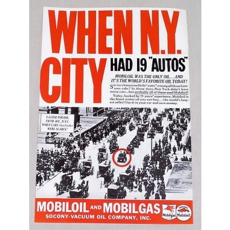 1937 Mobil Oil Vintage Color Print Ad - When NY City Had 19 Autos