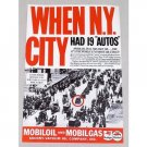 1937 Mobil Oil Vintage Color Print Ad - When NY City Had 19 Autos