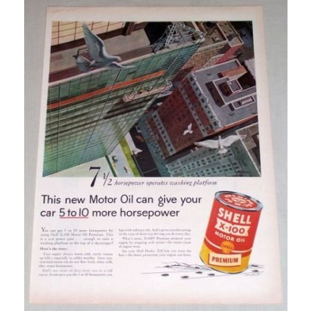 1956 SHELL X100 Motor Oil Window Washer Art Vintage Color Print Ad