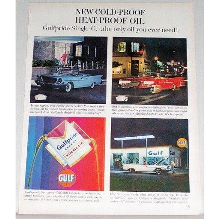 1961 Gulf Pride Select Single G Motor Oil Chrysler Vintage Color Print Ad