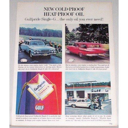 1961 Gulf Pride Select Single G Oil Vintage Color Print Ad