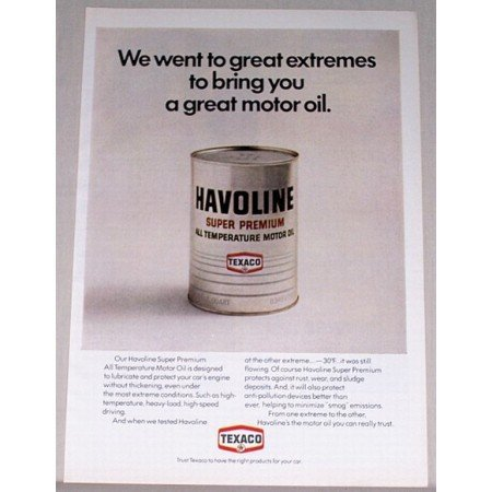 1971 Texaco Havoline Super Premium Motor Oil Vintage Color Print Ad