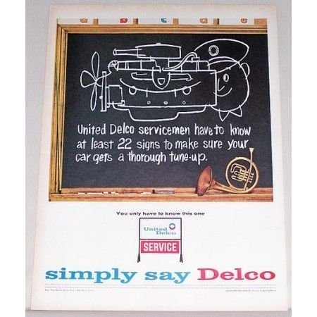 1964 United Delco Service Blackboard French Horn Music Vintage Color Print Ad