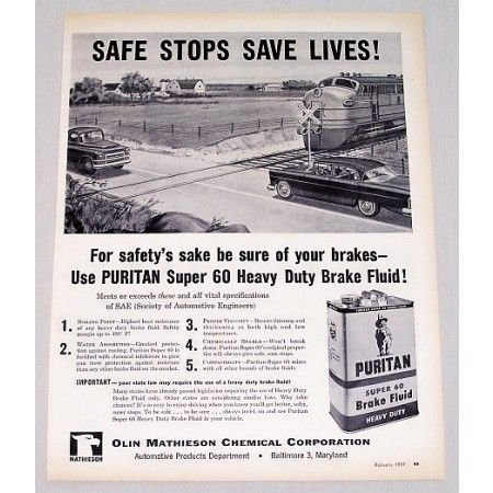 1957 Puritan Super 60 Brake Fluid Railroad Train Cross Vintage Print Ad