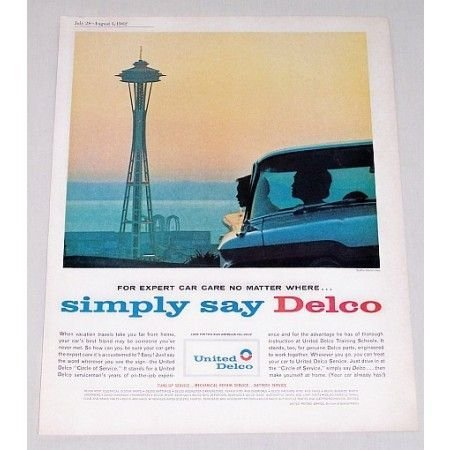 1962 United Delco Seattle Worlds Fair Space Needle Vintage Color Print Ad