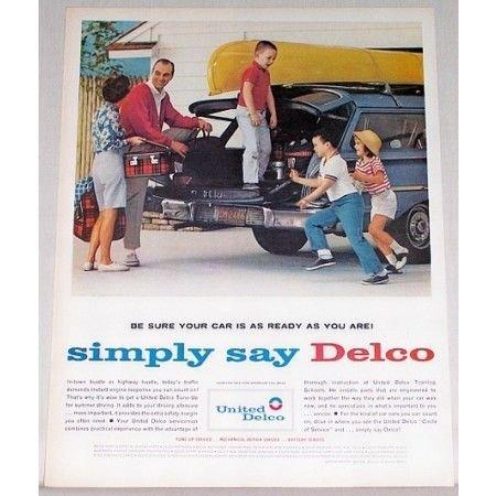 1962 United Delco Family Canoe Trip Vintage Color Print Ad