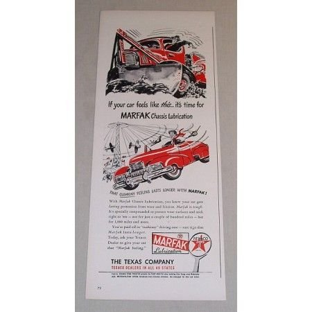 1948 Texaco Marfax Chassis Lubrication Vintage Color Print Ad
