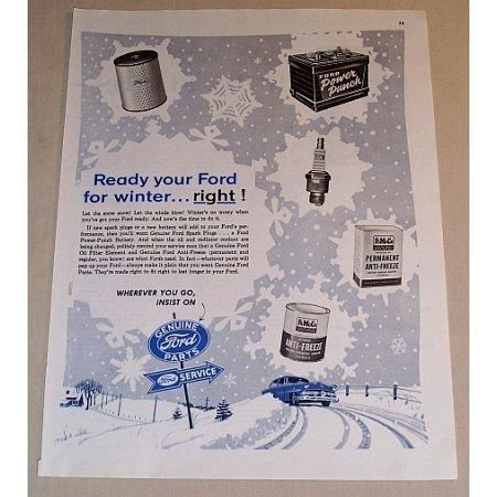 1954 Ford Parts Service Vintage Color Print Ad - Ready Your Ford For Winter