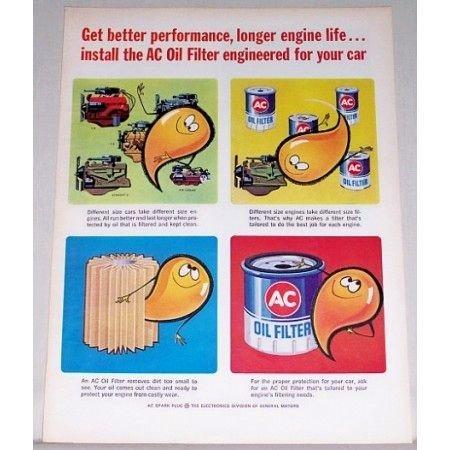 1964 AC Oil Filter Vintage Color Print Ad - Longer Engine Life