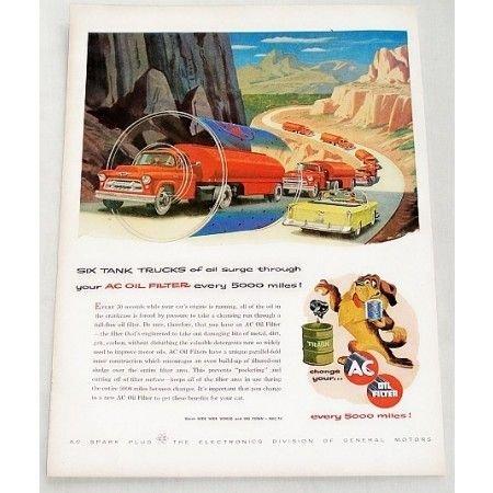 1956 AC Oil Filter Six Tank Trucks Vintage Color Print Art Ad