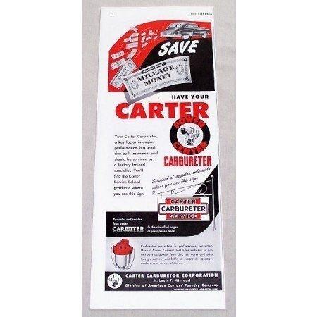 1949 Carter Carburetor Service Vintage Color Print Ad - Mileage Money