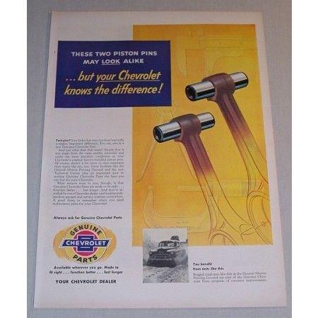 1955 Genuine Chevrolet Parts Piston Pins Vintage Color Print Art Ad