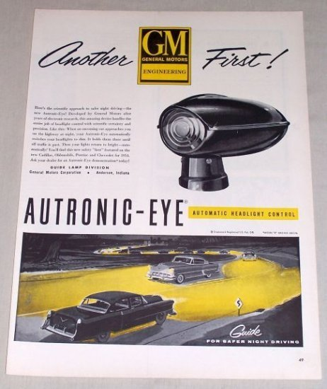 1954 GM Autronic Eye Automatic Headlight Control Vintage Color Print Ad