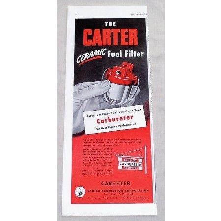 1949 Carter Carburetor Service Fuel Filter Vintage Color Print Ad