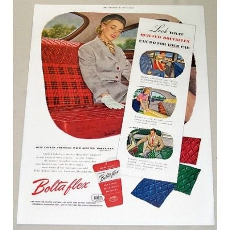 1952 Quilted Boltaflex Seat Covers Vintage Color Print Ad