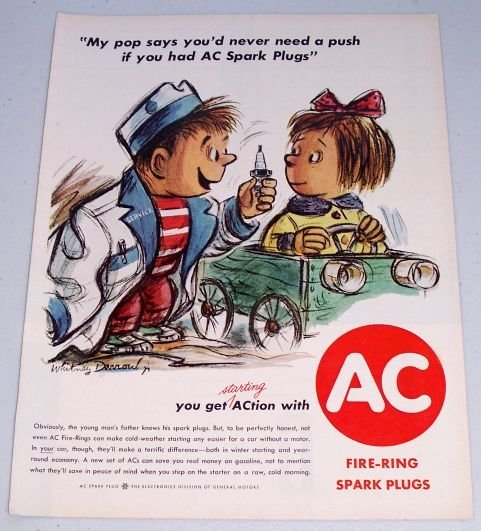 1961 AC Fire Ring Spark Plugs Whitney Darrow Art Vintage Color Print Ad