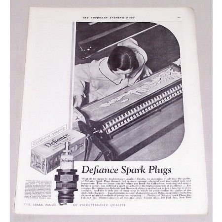 1932 Defiance Spark Plugs Vintage Print Ad - Predetermined Quality