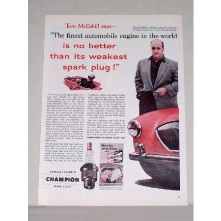 1953 Champion Spark Plugs Vintage Color Print Ad Tom McCahill