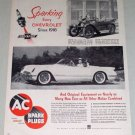 1953 AC Spark Plugs 1916 Chevy Baby Grand 1953 Chevy Corvette Vintage Print Ad