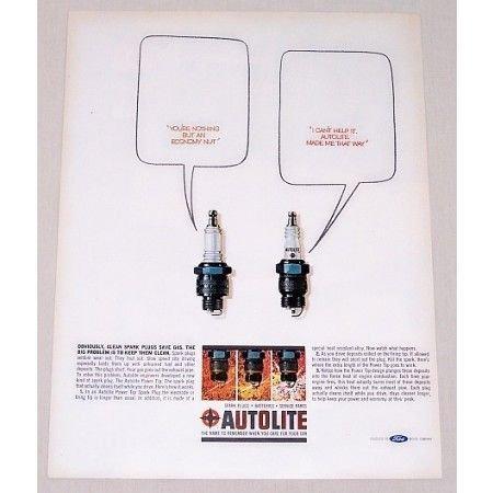 1964 Autolite Spark Plugs Vintage Color Print Ad - Economy Nut