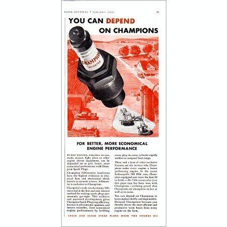 1938 Champion Spark Plugs Vintage Color Print Ad - Better Performance